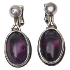 Amethyst and Sterling Silver Drop Clip On Earrings Pair of Vintage