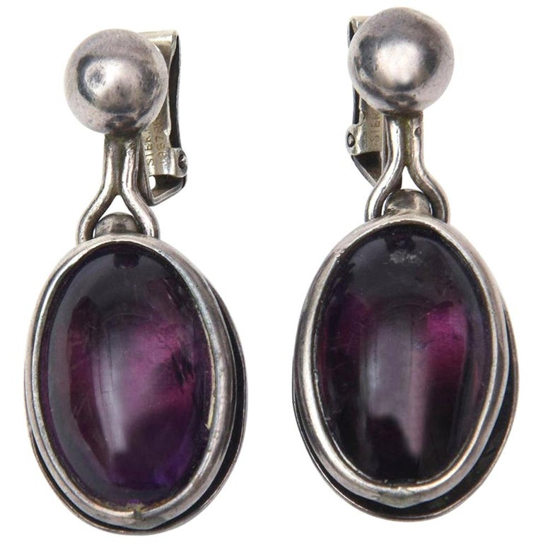 Amethyst and Sterling Silver Drop Clip On Earrings Pair of Vintage For Sale