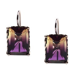 Amethyst and Sterling Silver Square Drop Earrings