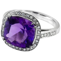 Amethyst and White Diamond Halo Cocktail Ring Hand Cut Cushion Cut Made in Italy