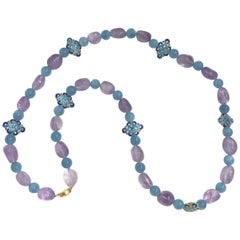 Amethyst, Aquamarine and Vermeil Beaded Necklace