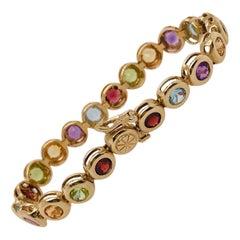 Amethyst Aquamarine Citrine Garnet Peridot Gemstone Bracelet in 14 Karat Gold