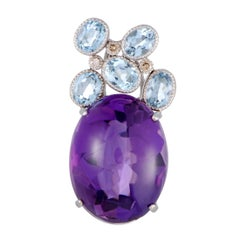Amethyst Aquamarine Diamond White Gold Pendant