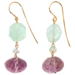 Amethyst Aquamarine Rose Gold Earrings Handcrafted in Italy by Botta Gioielli