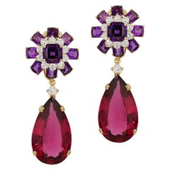 Amethyst Ascher and Cushions Cut with Rubelite Pear Shape Drop Earrings