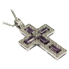Amethyst Baguettes and Diamonds White Gold Cross Made in Italy
