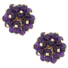 Amethyst Bead Cluster Button Earrings