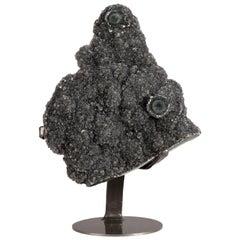 """Amethyst Black Druze Quartz or """"Black Galaxy Amethyst"""" on Metal Stand Decor"""