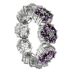 Amethyst Blossom Gemstone Trinity Ring