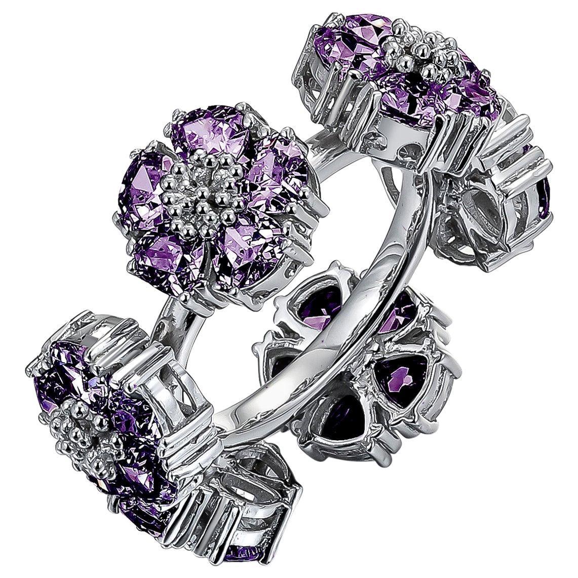 Amethyst Blossom Gemstone Wraparound Ring