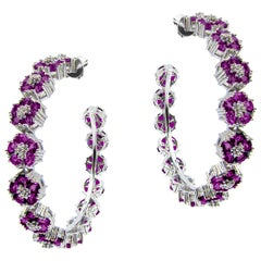 Amethyst Blossom Gentile Large Gemstone Hoops