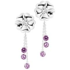 Amethyst Blossom Graduated Stone Drop Earrings