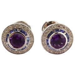 Amethyst, Blue Sapphire and Diamond Ear Stud Mounted in 18 Karat Gold
