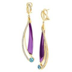 Amethyst, Blue Topaz and Diamond Dangle Earrings in Gold