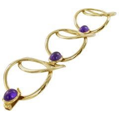 Amethyst Bracelet in 18 Karat Yellow Gold