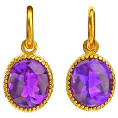 Amethyst Buff Top Earrings in 22 Karat Yellow Gold