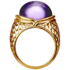 Yemyungji Amethyst Cabochon Cut 12.5 Carat 18 Karat Yellow Gold Cocktail Ring