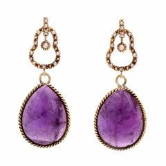 Amethyst Cabochon Seed Pearls Gold Dangel Drop Earrings
