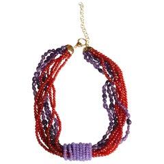 Amethyst Carnelian Lavander Jade Torchon Necklace 18 Karat Gold