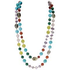 Amethyst Carnelian Turquoise Malaquite Citrine Opal Vermeille Necklace