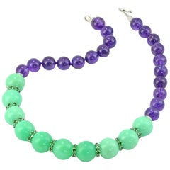 Amethyst Chrysoprase Diamond Tsavorite Garnet 18 KT White Gold Necklace
