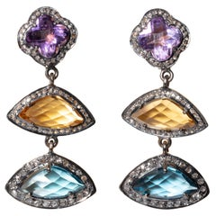 Amethyst, Citrine, Blue Topaz and Diamond Drop Earrings