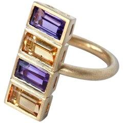 Amethyst Citrine Emerald Cut Brushed 18 Karat Gold Geometric Ring