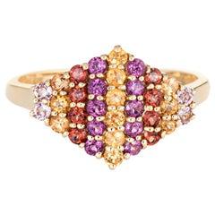 Amethyst Citrine Garnet Cluster Ring Estate 14 Karat Yellow Gold Fine Jewelry