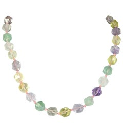 Amethyst Citrine Lemon Quartz Rose Quartz Prehnite Silver Necklace