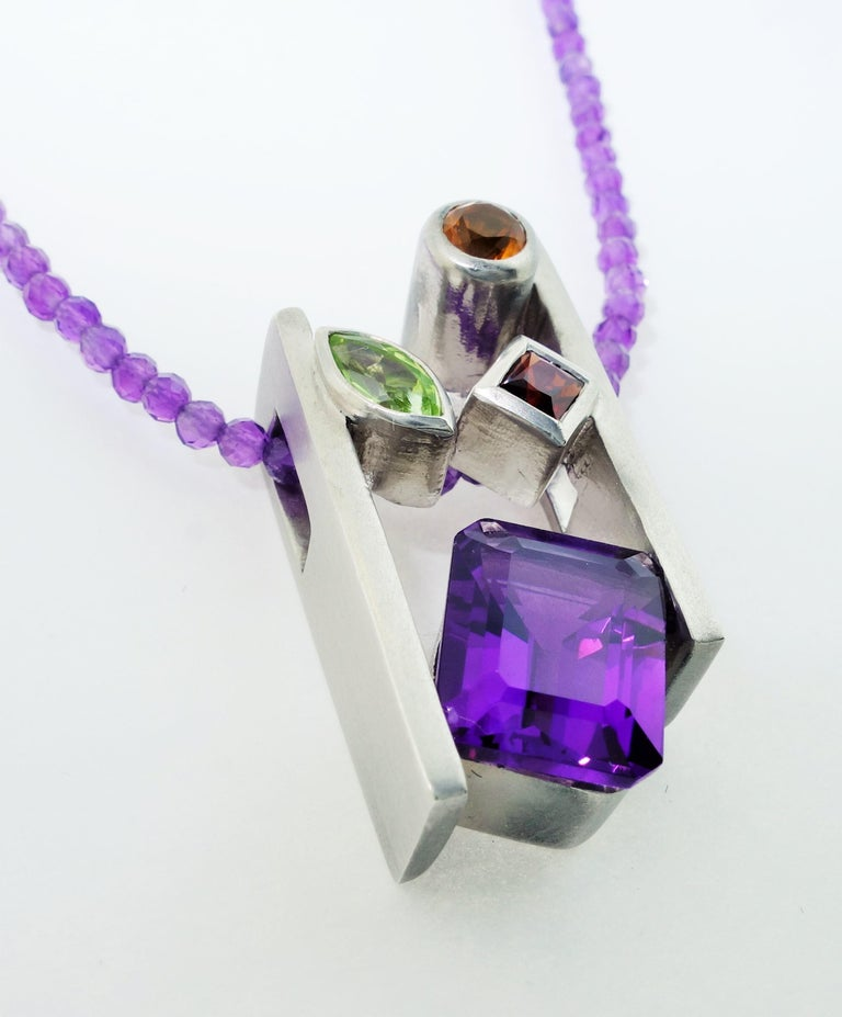Contemporary Amethyst Citrine Peridot and Garnet Pendant Necklace Fine Estate Jewelry For Sale