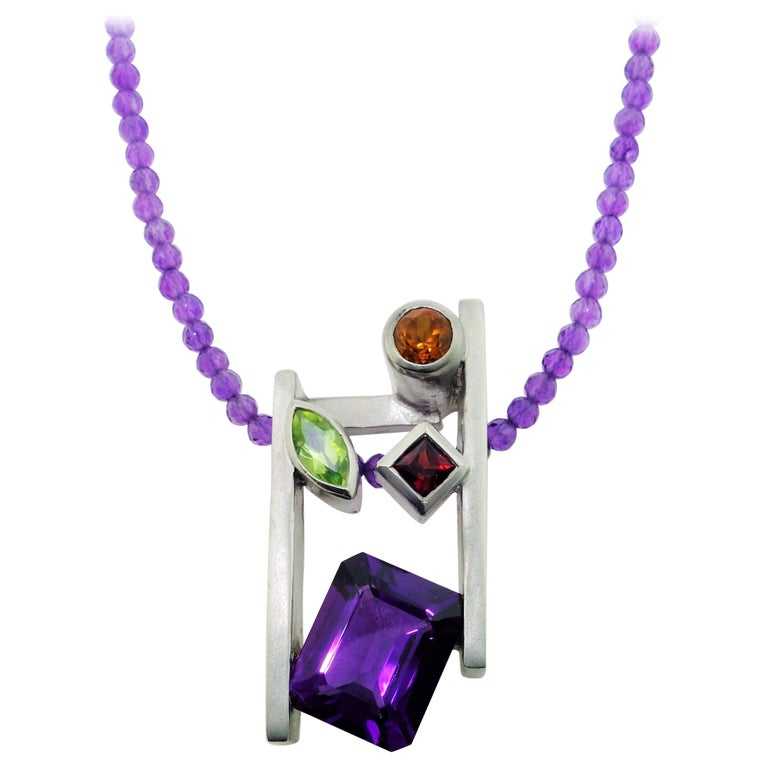 Amethyst Citrine Peridot and Garnet Pendant Necklace Fine Estate Jewelry For Sale