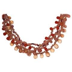 Amethyst Citrine Rose Quartz Carnelian Multi-Strand Necklace 18 Karat Gold