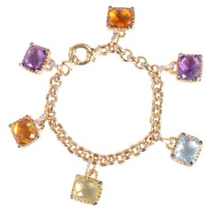 Amethyst Citrine Topaz Diamond Yellow Gold Bracelet