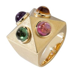 "Amethyst Citrine Tourmaline Garnet Gold Ring ""Pyramid"" Wagner Collection"