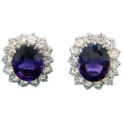 Amethyst Cluster Diamonds White Gold Stud Earrings