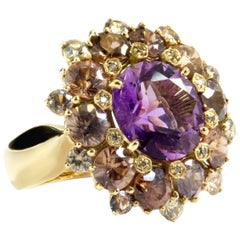 Amethyst Cluster Ring One Made 18k Gold and Champagne Diamonds Made in Italy