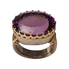 Amethyst Cocktail Fashion Ring in 18 Karat Gold and Sterling Band