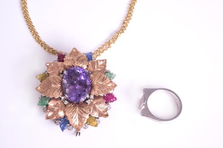 Art Nouveau Amethyst Cocktail Ring Gold 18 Karat For Sale