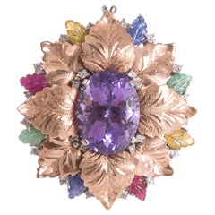 Amethyst Cocktail Ring Gold 18 Karat