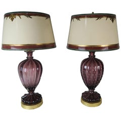 Amethyst Colored Murano Lamps with Parchment Shades, a Pair