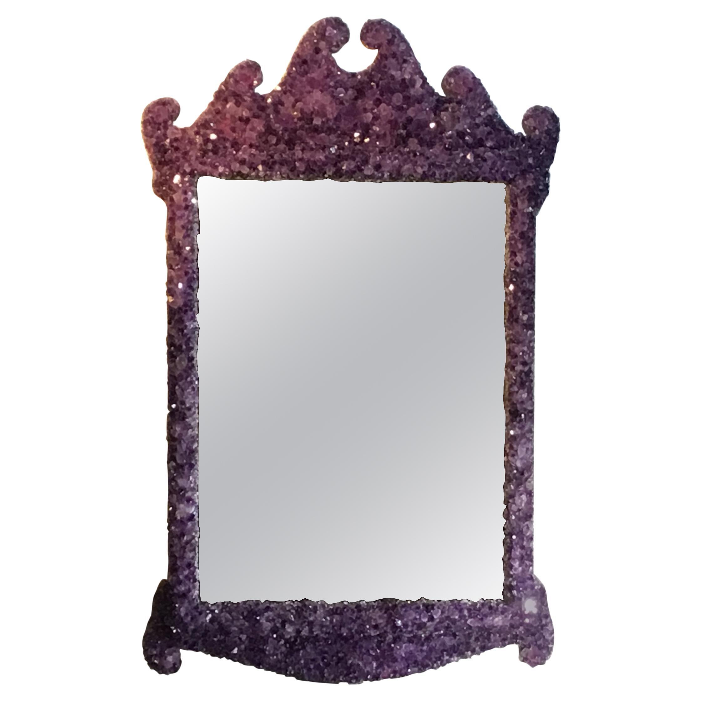 Amethyst Crystal Quartz Wall Mirror
