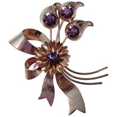 Amethyst Crystal Sterling Silver Flower Pin Brooch, Mid 1900s Collectible