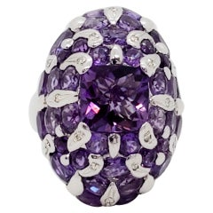 Amethyst Cushion and White Diamond Cluster Ring in 18 Karat White Gold