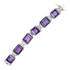 Amethyst Cushion Bracelet with Diamonds