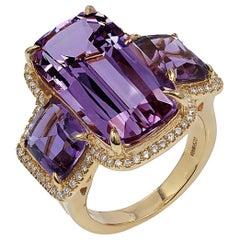 Goshwara 3 Stone Cushion Amethyst And Diamond Ring