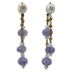 Amethyst Dangle Drop Earrings Pearl Rose Quartz 18 Karat Day/Night