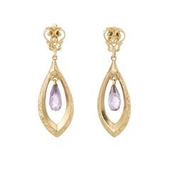 Amethyst Dangle Earrings 14 Karat Yellow Gold