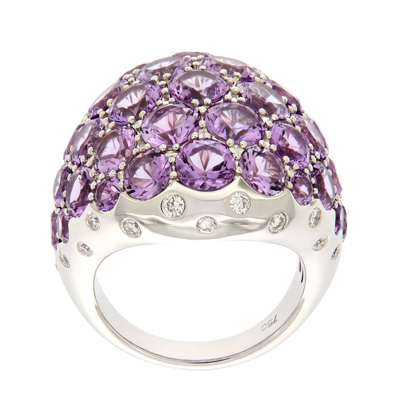 Amethyst Diamond 18 Karat Gold Dome Cocktail Ring In New Condition For Sale In Troy, MI