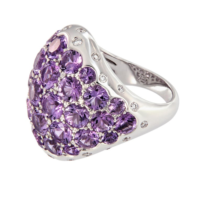 Women's Amethyst Diamond 18 Karat Gold Dome Cocktail Ring For Sale