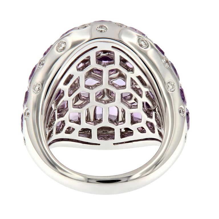 Amethyst Diamond 18 Karat Gold Dome Cocktail Ring For Sale 1